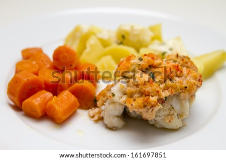 monkfish with potatoes and carrots