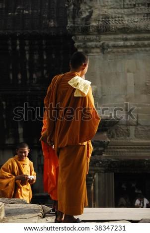 Monks, Angkor Wat - stock photo
