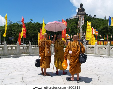 Monks at the Big Buddha in Lantau Island, Hong Kong