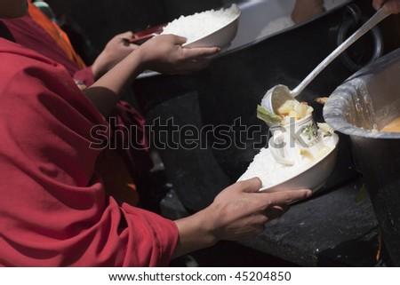 Monks at the Karchu Dratsang Monastery in Jankar, Bumthang Bhutan - stock photo