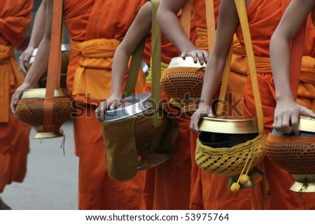 monks in Loung phabang lao - stock photo