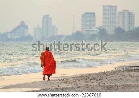 monks on the beach,Hua Hin Thailand - stock photo