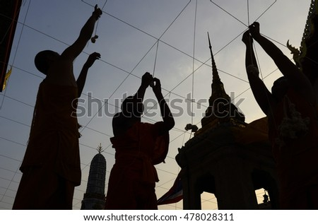 monks preparing the wat for the new year evening celebration in the temple of Wat Pho in the city of Bangkok in Thailand in Southeastasia.