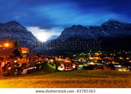 Monnlight in Grindelwald Village, Berner Oberland, Switzerland - stock photo