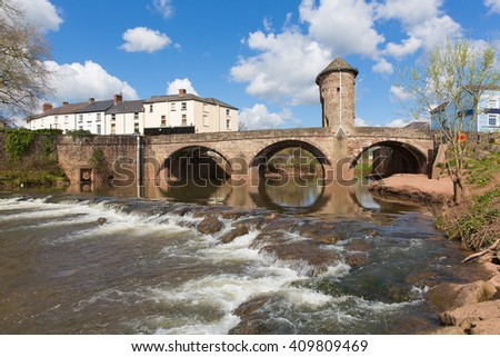 Monnow Bridge Monmouth Wales uk medieval fortified river bridge and tourist attraction in the Wye valley