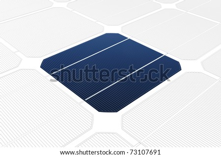 mono-crystalline solar cell against a drawing - stock photo