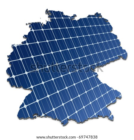 mono-crystalline solar cells in an abstract map of Germany - stock photo