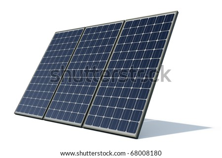 mono-crystalline solar panels against a white background - stock photo