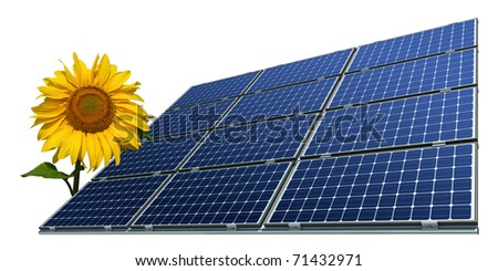 mono-crystalline solar panels and sunflower against a white background - stock photo