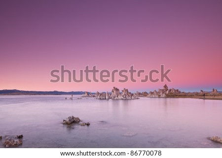 Mono Lake after sunset, Mono Lake Tufa State Reserve, California. - stock photo