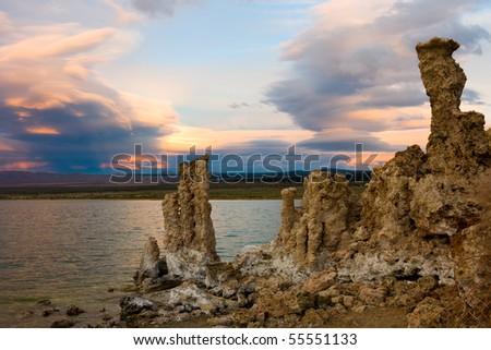 Mono Lake at sunset in California - stock photo
