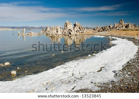 Mono Lake is an alkaline and hypersaline lake in California - stock photo