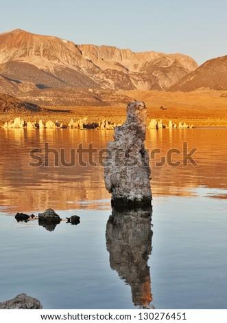 Mono Lake stalagmites of the Tufa - stock photo