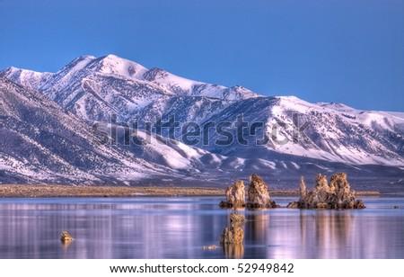 Mono Lake Tufas just Before Sunrise - stock photo