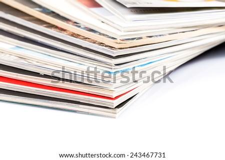 Mono magazines up close shot on white background - stock photo