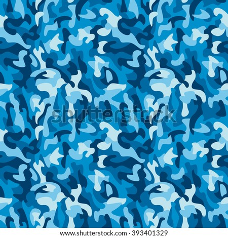 Monochromatic camouflage pattern in blue repeats seamlessly.