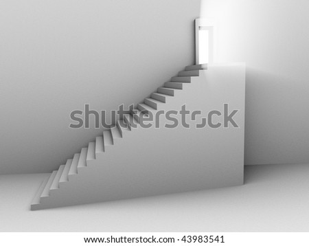 Monochromatic 3d rendered image of stair to opened door with light from it.