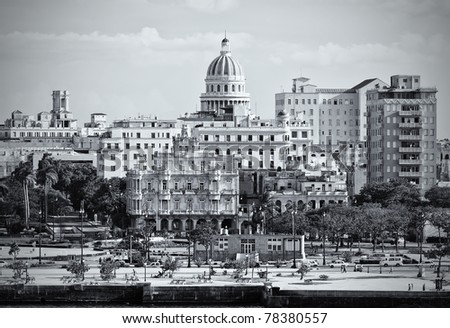 Monochromatic image of Old Havana with the Capitol building in the background - stock photo