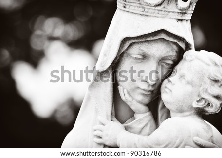 Monochromatic image of the Virgin Mary carrying the baby Jesus - stock photo