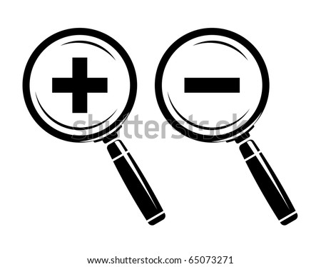 Monochromatic increase-decrease magnifiers icons. Raster version of vector illustration (id: 60407992) - stock photo
