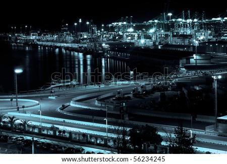 Monochromatic Port at Night - stock photo