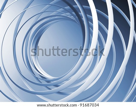 Monochrome abstract 3d spiral background - stock photo