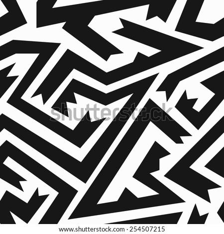 monochrome ancient seamless pattern (raster version) - stock photo