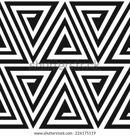 monochrome ancient triangle spiral seamless pattern (raster version) - stock photo