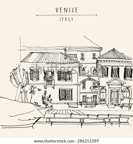 Monochrome artistic freehand illustration postcard with a touristic city view of  Venice, Italy, Europe. Historical buildings, window shutters, boat. Vintage postcard greeting card design template