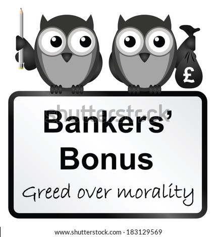 Monochrome banker bonuses with UK currency sign isolated on white background - stock photo