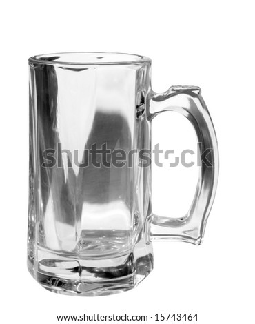 Monochrome beer mug on white, clipping path included