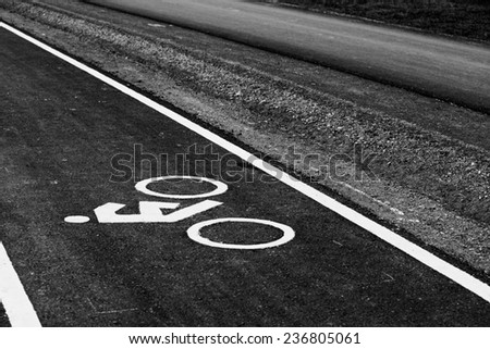 Monochrome bicycle road sign.
