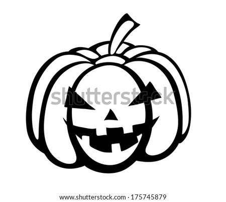 Monochrome black-and-white silhouette of pumpkin festive Halloween Special - stock photo