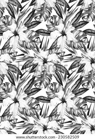 Monochrome. black and white  tropic floral seamless pattern with hibiscus, bird of paradise, palm and monstera leaves - stock photo