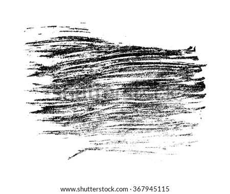 Monochrome black grunge stain isolated on white background. Abstract design element for banner, card, invitation, postcard, poster. Raster copy of vector file.
