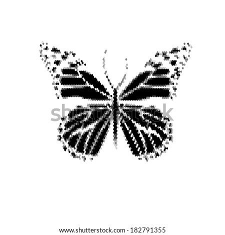 monochrome butterfly icon. Raster - stock photo