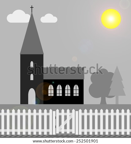 Monochrome church with white picket fence in bright sunlight with lens flare  - stock photo