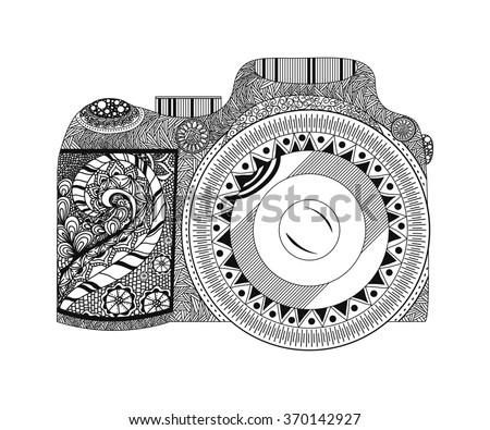 Monochrome Coloring Page Camera Hand Drawn Stock Illustration