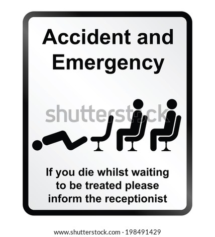 Monochrome comical accident and emergency public information sign isolated on white background - stock photo
