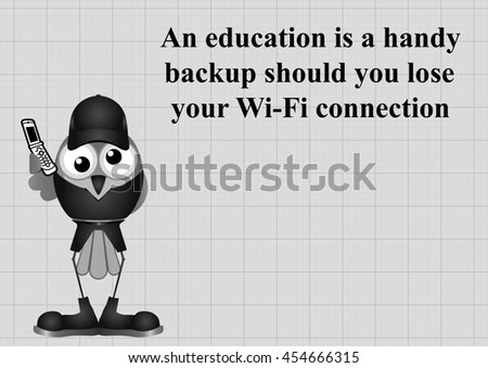Monochrome comical education backup should you lose wifi connection and be unable to use a search engine on graph paper background with copy space for own text - stock photo