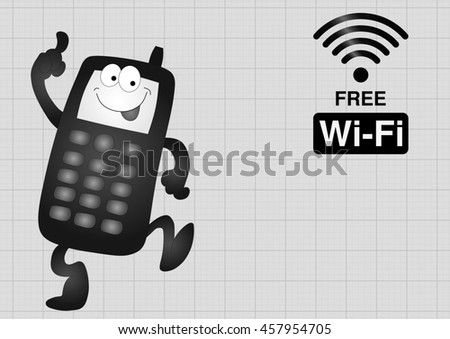 Monochrome comical mobile telephone and free wifi connection on graph paper background with copy space for own text - stock photo