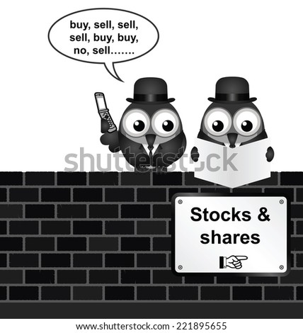 Monochrome comical stocks and shares sign on brick wall isolated on white background - stock photo