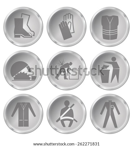 Monochrome construction manufacturing and engineering health and safety related icon set isolated on white background - stock photo