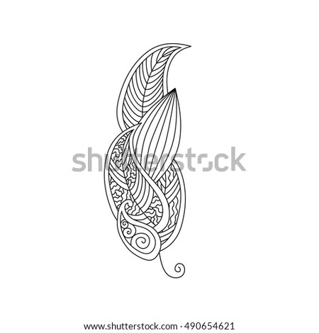 Monochrome contour image of feather with ornament inside isolated on white background. Good for antistress coloring book for adult and children, henna tattoo, prints.  Art raster illustration.