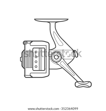 monochrome contour spinning fishing fixed spool reel isolated black outline illustration on white background  - stock photo