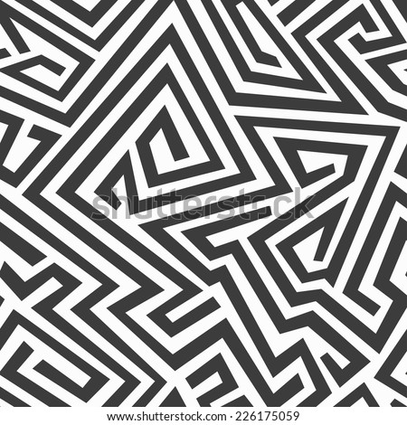 monochrome curved seamless pattern (raster version) - stock photo