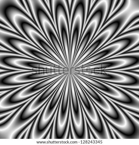 Monochrome Daisy / Digital abstract fractal image with a floral daisy design in black and white.
