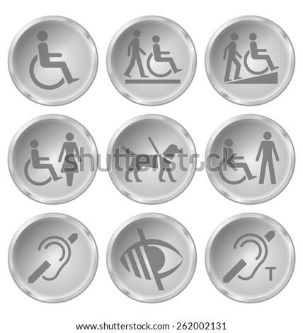 Monochrome disability related icon set isolated on white background - stock photo