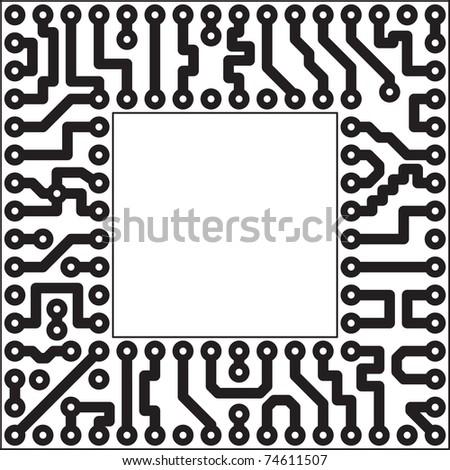 Monochrome electronic board - square slot - stock photo