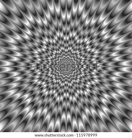 Monochrome Eye Bender/Digital abstract image with a psychedelic design producing the illusion of movement in monochrome black and white. - stock photo